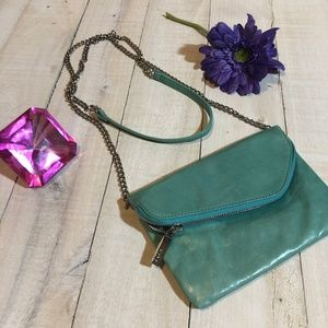 Hobo Small Turquoise crossbody leather clutch